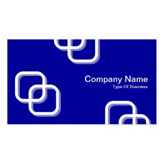 Interlocking Squares 3d - White on Blue 000099 Business Card
