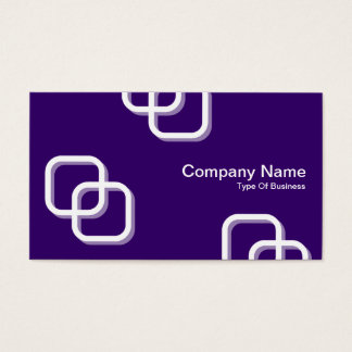 Interlocking Squares 3d - White on Deep Purple Business Card