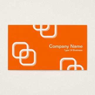 Interlocking Squares 3d - White on Orange Business Card