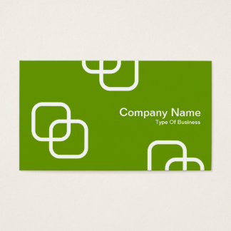 Interlocking Squares - White on Avocado Green Business Card