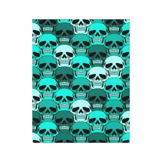 Interlocking Teal Blue Skull Pattern Stretched Canvas Print