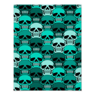 Interlocking Teal Blue Skull Pattern Print