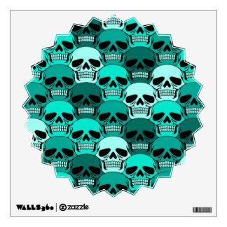 Interlocking Teal Blue Skull Pattern Room Sticker