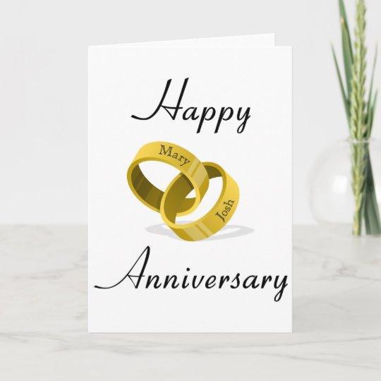 Interlocking Wedding Rings.Interlocking Wedding Rings Engraved Custom Names Card