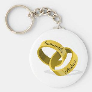 Interlocking Wedding Rings - Engraved custom Names Keychain