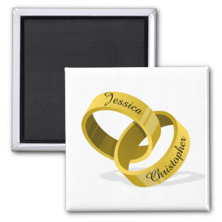 Interlocking Wedding Rings - Engraved custom Names Magnet