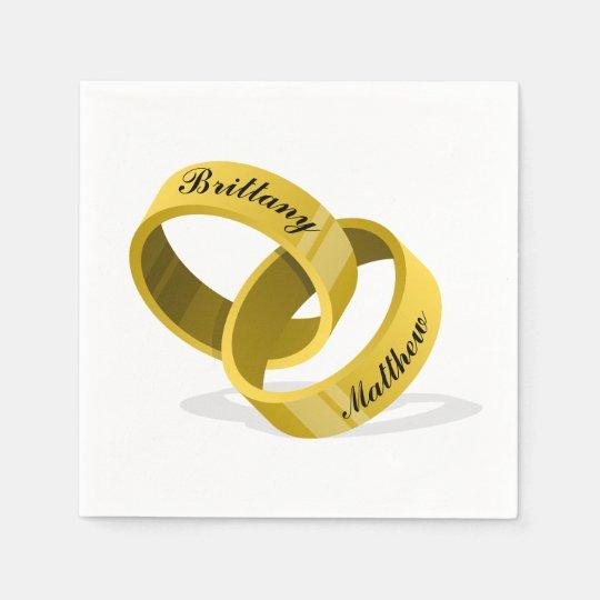 Interlocking Wedding Rings.Interlocking Wedding Rings Engraved Custom Names Napkin
