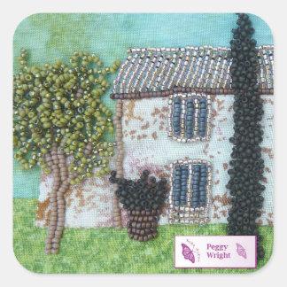 Interludio de rubíes del francés de los diseños de pegatina cuadrada