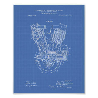 Internal Combustion Engine 1914 Patent Blueprint Poster