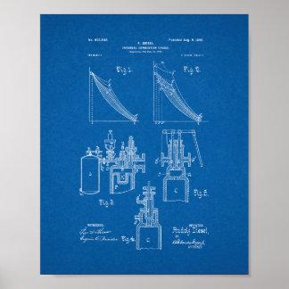 Internal Combustion Engine Patent - Blueprint Poster