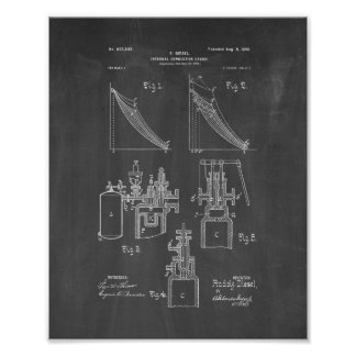 Internal Combustion Engine Patent - Chalkboard Poster