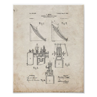 Internal Combustion Engine Patent - Old Look Poster