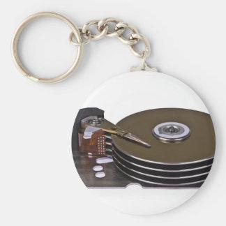 Internals de una unidad de disco duro llavero redondo tipo pin