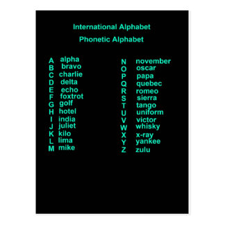 International Alphabet Postcard