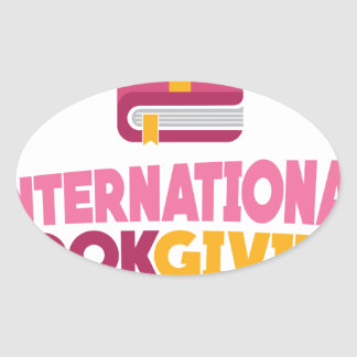 International Book Giving Day - 14th February Oval Sticker