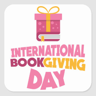 International Book Giving Day - 14th February Square Sticker