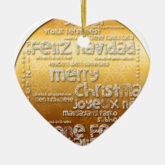 International Christmas Navidad Natal Noel Heart O Ceramic Ornament