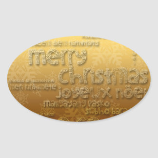 International Christmas Oval Sticker