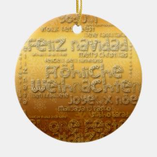 International Christmas Weihnachten Navidad - Double-Sided Ceramic Round Christmas Ornament