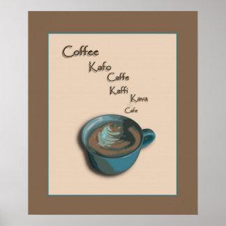 International Coffee Cup Poster Print