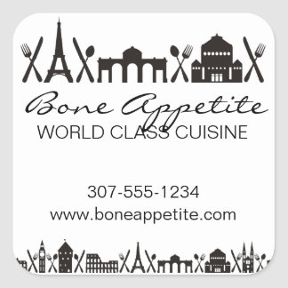 International cuisine European food chef catering Square Sticker
