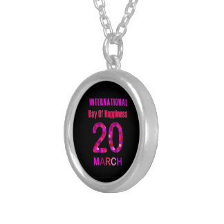 International Day of Happiness- Commemorative Day Round Pendant Necklace