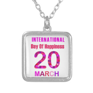 International Day of Happiness- Commemorative Day Square Pendant Necklace