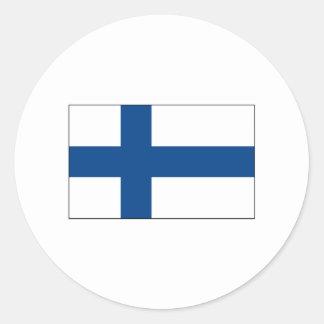 International de la BANDERA de Finlandia Etiqueta Redonda