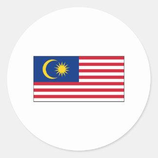 International de la BANDERA de Malasia Etiqueta Redonda