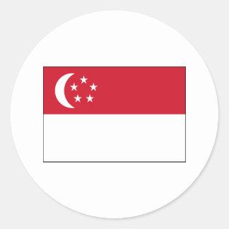 International de la BANDERA de Singapur Pegatina Redonda