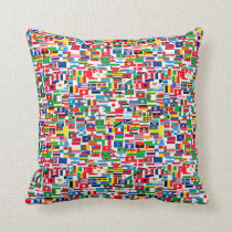 INTERNATIONAL FLAG PATTERN THROW PILLOW