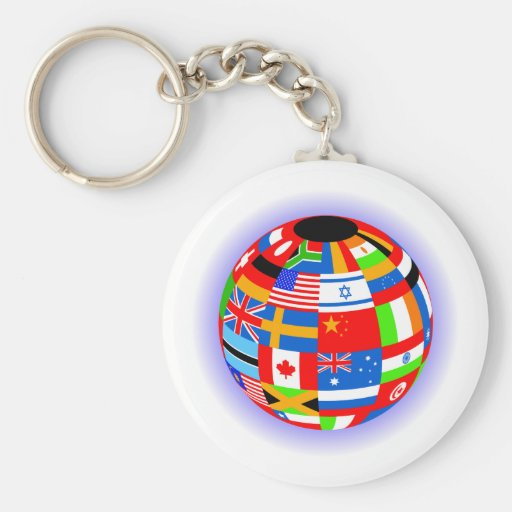 international flags globe earth basic round button keychain