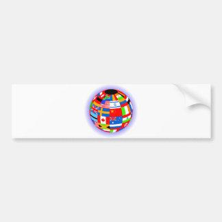 international flags globe earth bumper sticker