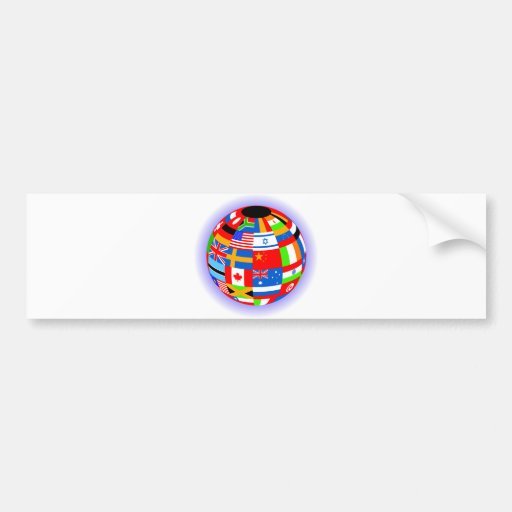 international flags globe earth bumper stickers