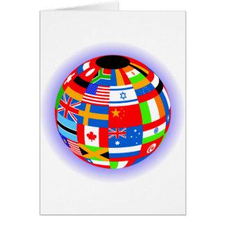 international flags globe earth card