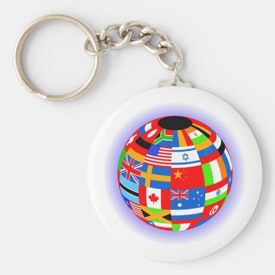 international flags globe earth keychain