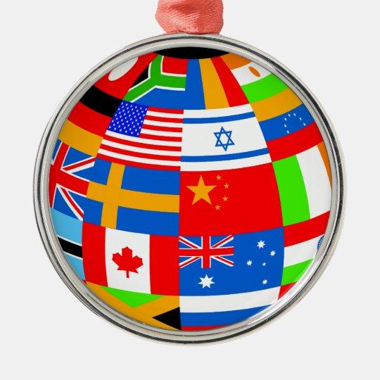 international flags globe earth metal ornament