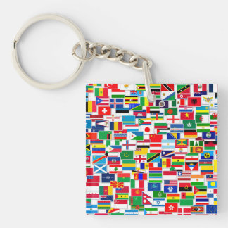 International Flags Pattern Keychain