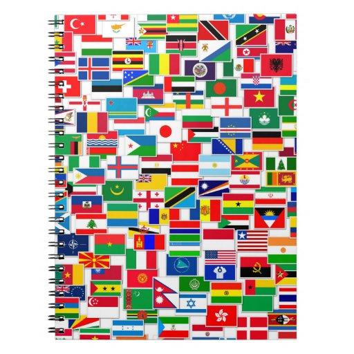 International Flags Pattern Spiral Notebook