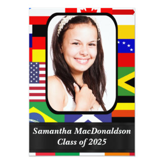 International flags photo graduation card