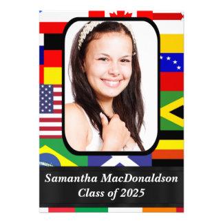 International flags photo graduation personalized invites