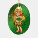 International - German Girl - SRF Double-Sided Oval Ceramic Christmas Ornament