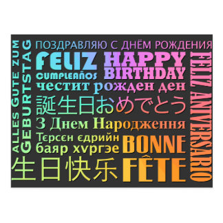 International Happy Birthday Design Postcard
