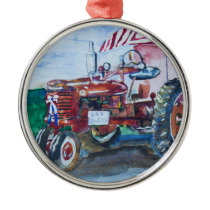 International Harvester Tractor Metal Ornament