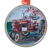 International Harvester Tractor Metal Ornament