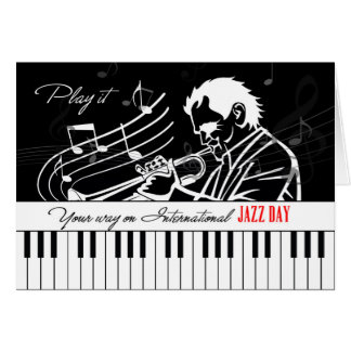 International Jazz Day Piano Keys and Musician Card