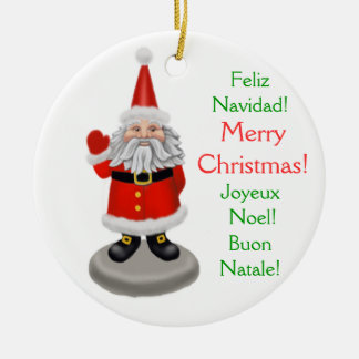 International Merry Christmas Santa Ornament