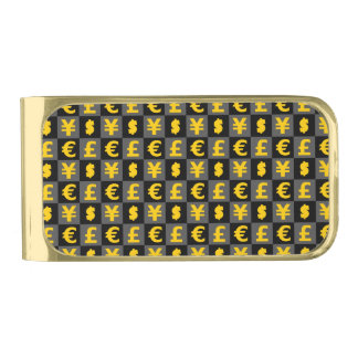 International money currencies signs pattern gold finish money clip