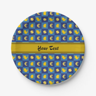 International money currencies signs pattern paper plate