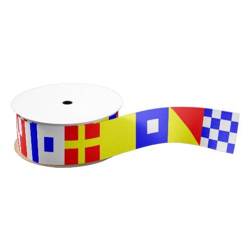 International Nautical Flags N November_Z Zulu Grosgrain Ribbon